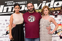 24.07.2012. Presentation at the Madrid Film Academy of the movie 'Impavido&acute;, directed by Carlos Theron and starring by Marta Torne, Selu Nieto, Nacho Vidal, Carolina Bona, Julian Villagran and Manolo Solo. In the image Marta Torne (L),  Carlos Theron (C) and Carolina Bona (R). (Alterphotos/Marta Gonzalez) /NortePhoto.com*<br />