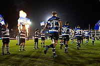 Tom Ellis and the rest of the Bath Rugby team run onto the field. Aviva Premiership match, between Bath Rugby and Exeter Chiefs on March 23, 2018 at the Recreation Ground in Bath, England. Photo by: Patrick Khachfe / Onside Images