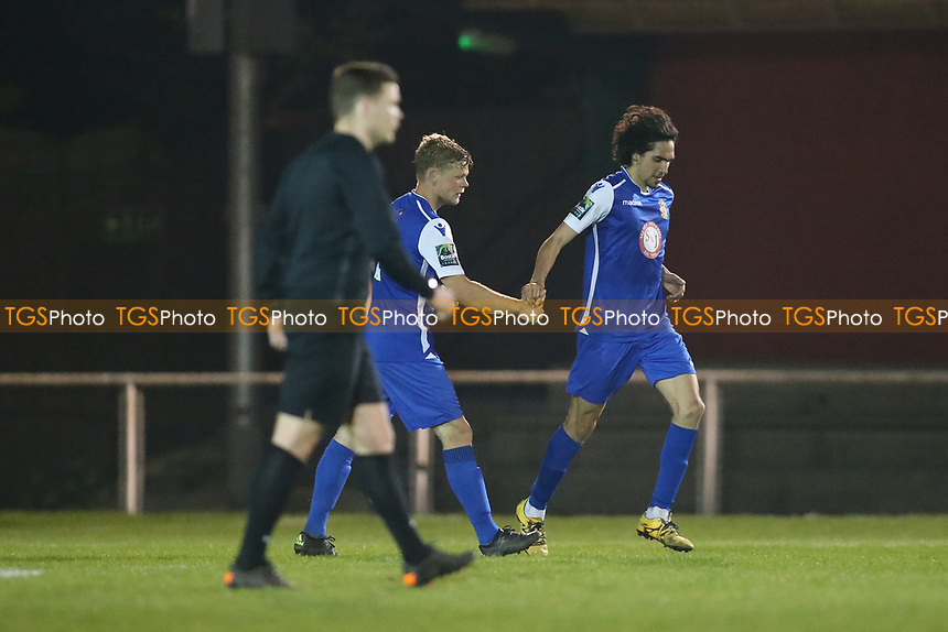 Garrett kelly scores for Aveley and celebrates during AFC Hornchurch vs Aveley, Bostik League Division 1 North Football at Hornchurch Stadium on 20th April 2018