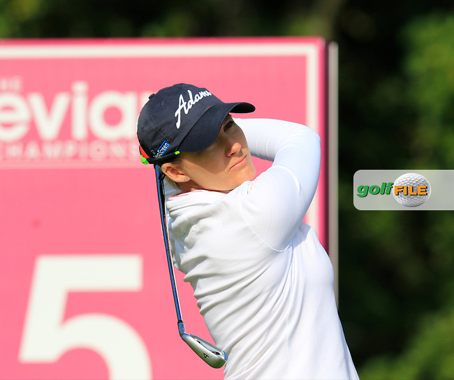 Sarah Jane Smith (AUS) tees off the par3 5th tee during Friday's Round 2 of the LPGA 2015 Evian Championship, held at the Evian Resort Golf Club, Evian les Bains, France. 11th September 2015.<br /> Picture Eoin Clarke | Golffile