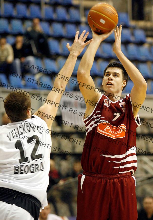 Kosarka, NLB Liga-Regionalna, sezona 2007/08.Parrtizan Vs. FMP (Zeleznik).Zoran Erceg, right and Novica Velickovic.Beograd, 05.01.2008..foto: Srdjan Stevanovic