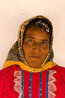 Tarahumara Indian woman in her colorful native costume, Ejido San Alonso, near San Rafael, Copper Canyon, Mexico