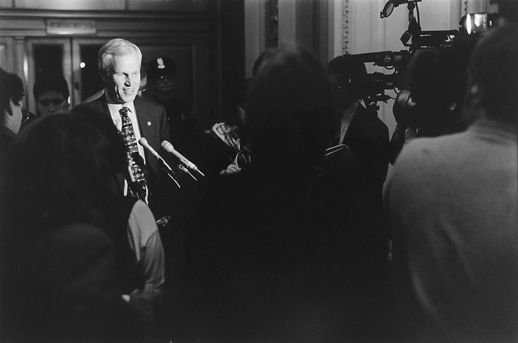 Rep. Charles Stenholm, D-Tex., talk to reporters after losing whip race to Rep. David Bonior, D-Mi., on Now. 30, 1994. (Photo by Chris Martin/CQ Roll Call)