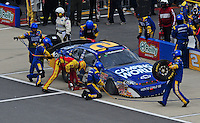 Apr 26, 2008; Talladega, AL, USA; NASCAR Nationwide Series driver Clint Bowyer pits after crashing during the Aarons 312 at the Talladega Superspeedway. Mandatory Credit: Mark J. Rebilas-