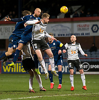 10th March 2020; Dens Park, Dundee, Scotland; Scottish Championship Football, Dundee FC versus Ayr United; Jordon Forster of Dundee competes in the air with Sam Roscoe of Ayr United