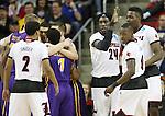 Louisville Montrezi Harrell (24) celebrates a foul called on Northern Iowa State with teammates during the 2015 NCAA Division I Men's Basketball Championship's March 22, 2015 at the Key Arena in Seattle, Washington.  Louisville beat Northern Iowa State 66-53 to advance to the Sweet 16.  ©2015. Jim Bryant Photo. ALL RIGHTS RESERVED.