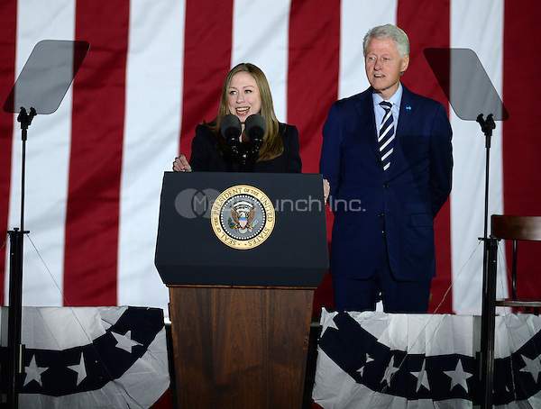 PHILADELPHIA, PA - NOVEMBER 7: Bill Clinton and Chelsea Clinton at the GOTV Rally in support of Hillary Clinton for President at Independence Mall in Philadelphia, Pennsylvania on November 7, 2016. Credit: Dennis Van Tine/MediaPunch