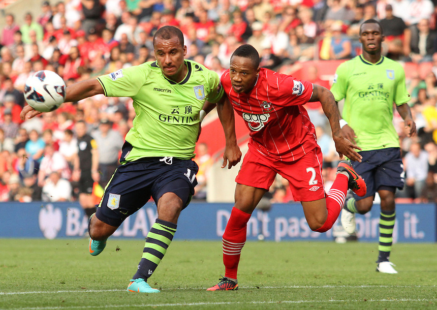 Aston Villa's Gabriel Agbonlahor and Southampton's Nathaniel Clyne attack the ball...Football - Barclays Premiership - Southampton v Aston Villa - Saturday 22nd September 2012 - St Mary's Stadium - Southampton..