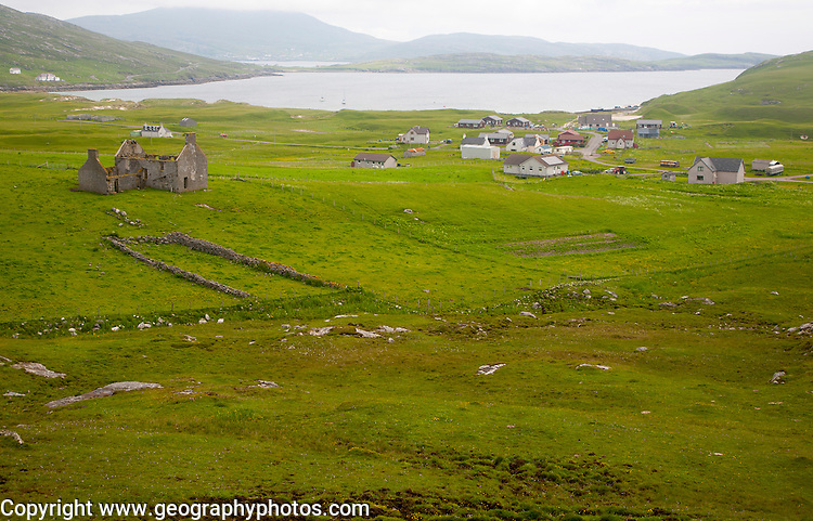 Houses in the crofting settlement village of Bhatarsaigh, Vatersay, Barra, Outer Hebrides, Scotland, UK