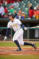 Montgomery Biscuits third baseman Richie Shaffer (8) hits a home run during a game against the Jackson Generals on April 29, 2015 at Riverwalk Stadium in Montgomery, Alabama.  Jackson defeated Montgomery 4-3.  (Mike Janes/Four Seam Images)