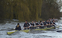 London, GREAT BRITAIN. Oxford Trail 8's. Riding out the rough water with both crews sheltering along Dukes Meadows as they return to Putney.. Varsity: Boat Race [Mandatory Credit: Peter Spurrier: Intersport Images] Rough, Choppy, Water, Conditions.