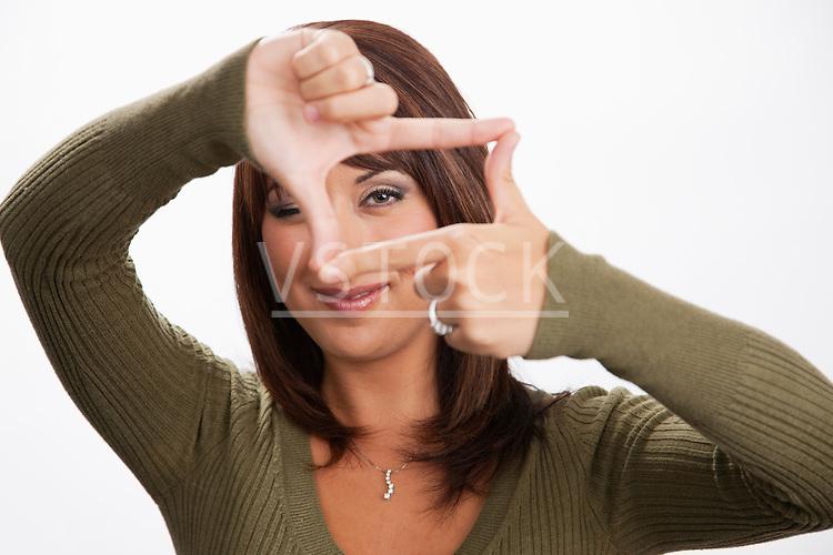 USA, Illinois, Metamora, Portrait of woman making finger frame