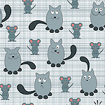 Seamless repeat pattern tile vector of cute cat &amp; mouse. Cat with different expressions and mouse smiling over checkered background.<br /> <br /> Available also as latest EPS format (Scalable to infinite size) and PNG format.<br /> <br /> WANT TO SEE HOW THIS WILL  LOOK WHEN ARRANGED AS A PATTERN?<br /> <br /> You can find the image of whole pattern put together in this gallery only.<br /> <br /> Tip: It should be the image next to this one, or, just search &quot;seamless+cat+antics&quot;!