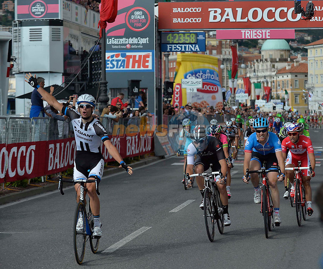 Luka Mezgec (SLO) Team Giant-Shimano wins Stage 21 of the 2014 Giro d&rsquo;Italia 172km running from Gemona del Friuli to Trieste, Italy. 1st June 2014.<br /> Picture: Daniele Montigiani/LaPresse/www.newsfile.ie
