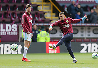Burnley's Johann Gudmundsson (right) and Kevin Long during the pre-match warm-up <br /> <br /> Photographer Rich Linley/CameraSport<br /> <br /> The Premier League - Saturday 13th April 2019 - Burnley v Cardiff City - Turf Moor - Burnley<br /> <br /> World Copyright © 2019 CameraSport. All rights reserved. 43 Linden Ave. Countesthorpe. Leicester. England. LE8 5PG - Tel: +44 (0) 116 277 4147 - admin@camerasport.com - www.camerasport.com