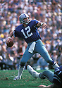 Dallas Cowboys Roger Staubach (12) in action during a game against the Los Angeles Rams on September 17, 1978 at Los Angeles Memorial Coliseum in Los Angeles, California. Rams beat the Cowboys 27-14. Roger Staubach was inducted to the Pro Football Hall of Fame in 1985.