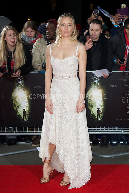 www.acepixs.com<br /> <br /> February 16 2017, London<br /> <br /> Sienna Miller arriving at the UK premiere of 'The Lost City of Z' at The British Museum on February 16, 2017 in London<br /> <br /> By Line: Famous/ACE Pictures<br /> <br /> <br /> ACE Pictures Inc<br /> Tel: 6467670430<br /> Email: info@acepixs.com<br /> www.acepixs.com