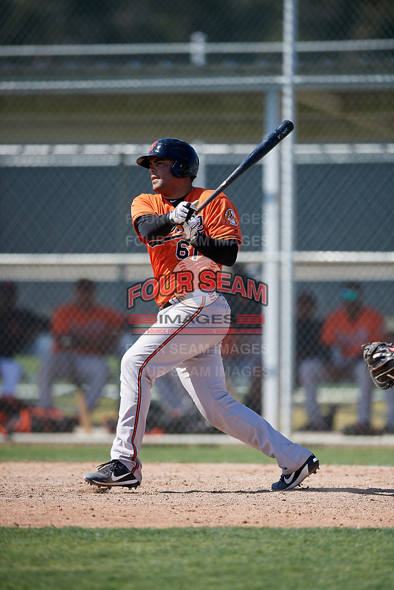 Baltimore Orioles catcher Ronald Soto (61) follows through on a swing during a minor league Spring Training game against the Tampa Bay Rays on March 29, 2017 at the Buck O'Neil Baseball Complex in Sarasota, Florida.  (Mike Janes/Four Seam Images)