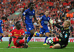 Sado Mane of Liverpool pulls a save out of Kasper Schmeichel of Leicester City during the Premier League match at Anfield Stadium, Liverpool. Picture date: September 10th, 2016. Pic Simon Bellis/Sportimage
