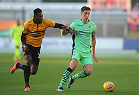 Colchester United's Luke Prosser under pressure from Newport County's Jamille Matt<br /> <br /> Photographer Kevin Barnes/CameraSport<br /> <br /> The EFL Sky Bet League Two - Newport County v Colchester United - Saturday 17th November 2018 - Rodney Parade - Newport<br /> <br /> World Copyright © 2018 CameraSport. All rights reserved. 43 Linden Ave. Countesthorpe. Leicester. England. LE8 5PG - Tel: +44 (0) 116 277 4147 - admin@camerasport.com - www.camerasport.com