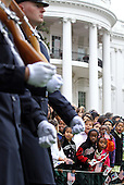 Children watch the start of an arrival ceremony for President Lee Myung-bak of the Republic of Korea at the White House hosted by United States President Barack Obama, Thursday, October 13, 2011 in Washington, DC. Later in the day Lee is scheduled to hold a joint press conference with Obama and also address a joint meeting of Congress. .Credit: Alex Wong / Pool via CNP