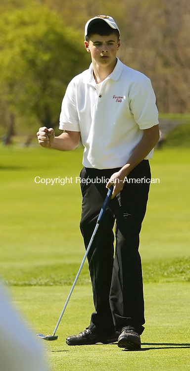 NAUGATUCK, CT 5/03/07- 050307BZ09-  Watertown's Matt Coppola  reacts after making a putt during a match against Naugatuck at Hop Brook Golf Course in Naugatuck Thursday.<br /> Jamison C. Bazinet Republican-American