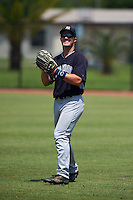 GCL Yankees 1 outfielder Trey Amburgey (66) warms up in between innings during the first game of a doubleheader against the GCL Tigers on August 5, 2015 at Tigertown in Lakeland, Florida.  GCL Tigers derated the GCL Yankees 5-2.  (Mike Janes/Four Seam Images)
