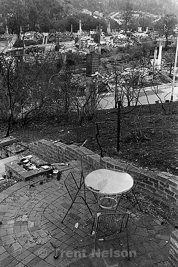 Patio and remains of burned homes after the Oakland Hills Fire.<br />