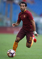 Calcio, Serie A: Roma vs Sampdoria. Roma, stadio Olimpico, 11 settembre 2016.<br /> Roma&rsquo;s Mohamed Salah in action during the Italian Serie A football match between Roma and Sampdoria at Rome's Olympic stadium, 11 September 2016. Roma won 3-2.<br /> UPDATE IMAGES PRESS/Isabella Bonotto