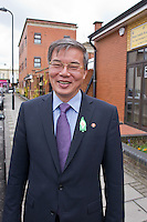 Ambassador to UK His Excellency Mr. Hyon Hak Bong of the Democratic People's Republic of Korea in Southall after attending a Saklatvala Hall Commemoration which celebrated the centenary of  Kim Il-sung's birth, sporting an Easter Lilly (2), Easter Sunday 2012
