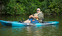 NWA Democrat-Gazette/BEN GOFF @NWABENGOFF<br /> Wade Kamps, a veteran from Rogers, fishes from a kayak Saturday, Aug. 10, 2019, during the Heroes on the Water event at Lake Fayetteville.