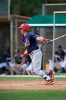 GCL Cardinals shortstop Mateo Gil (16) follows through on a swing during a game against the GCL Marlins on August 4, 2018 at Roger Dean Chevrolet Stadium in Jupiter, Florida.  GCL Marlins defeated GCL Cardinals 6-3.  (Mike Janes/Four Seam Images)