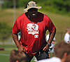 Gary Brown, a 1989 graduate of Brentwood High School who played as an offensive lineman on the Super Bowl-winning 1996 Green Bay Packers, gives pointers nine-year-old attendees of the Long Island Youth Football Player Academy at Cedar Creek Park in Seaford on Monday, July 11, 2016