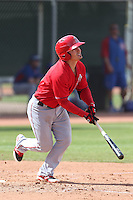 Tommy Field #12 of the Los Angeles Angels bats during a Minor League Spring Training Game against the Chicago Cubs at the Los Angeles Angels Spring Training Complex on March 23, 2014 in Tempe, Arizona. (Larry Goren/Four Seam Images)