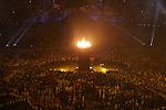 Engeland, London, 27 juli 2012.Olympische Spelen London.De openingsceremonie van de Olympische Spelen in London 2012.De vlam wordt gevormd door 204 koperen 'kroonbladen', die tijdens de openingsceremonie werden ontstoken door zeven jonge Britse atleten.
