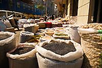 Sacks of seeds and grains at street market, Shanghai, China