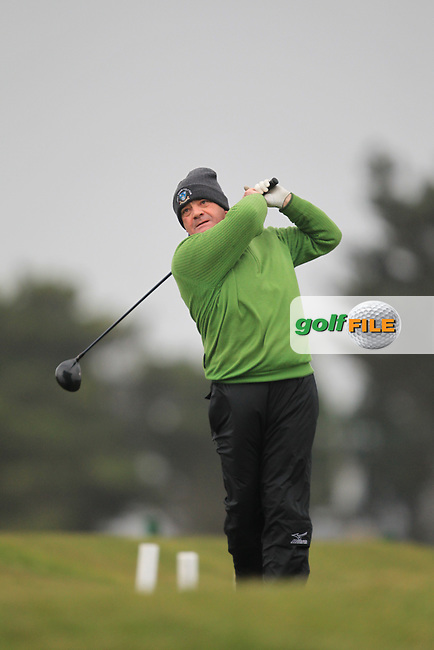 Eoin McCarton (Greenore) on the 1st teeing off in the Hilary golf society in Co Louth Golf Club 24/3/13.Picture: Fran Caffrey / www.golffile.ie ..