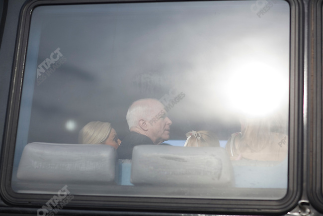 Senator John McCain, Republican presidential candidate, with his wife Cindy on the campaign bus in New Hampshire, January 8, 2008