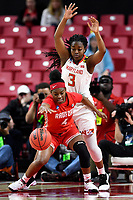 College Park, MD - March 23, 2019: Maryland Terrapins guard Channise Lewis (3) plays defense against Radford Highlanders guard Khiana Johnson (4) during first round action of game between Radford and Maryland at Xfinity Center in College Park, MD. Maryland defeated Radford 73-51. (Photo by Phil Peters/Media Images International)