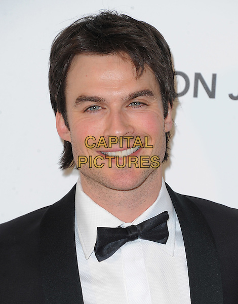 Ian Somerhalder.The 21st Annual Elton John AIDS Foundation Academy Awards Viewing Party held at The City of West Hollywood Park in West Hollywood, California, USA..February 24th, 2013.oscars headshot portrait black white bow tie tuxedo.CAP/DVS.©DVS/Capital Pictures.