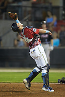 South Division catcher Jhonny Pereda (15) of the Myrtle Beach Pelicans settles under a pop fly during the 2018 Carolina League All-Star Classic at Five County Stadium on June 19, 2018 in Zebulon, North Carolina. The South All-Stars defeated the North All-Stars 7-6.  (Brian Westerholt/Four Seam Images)