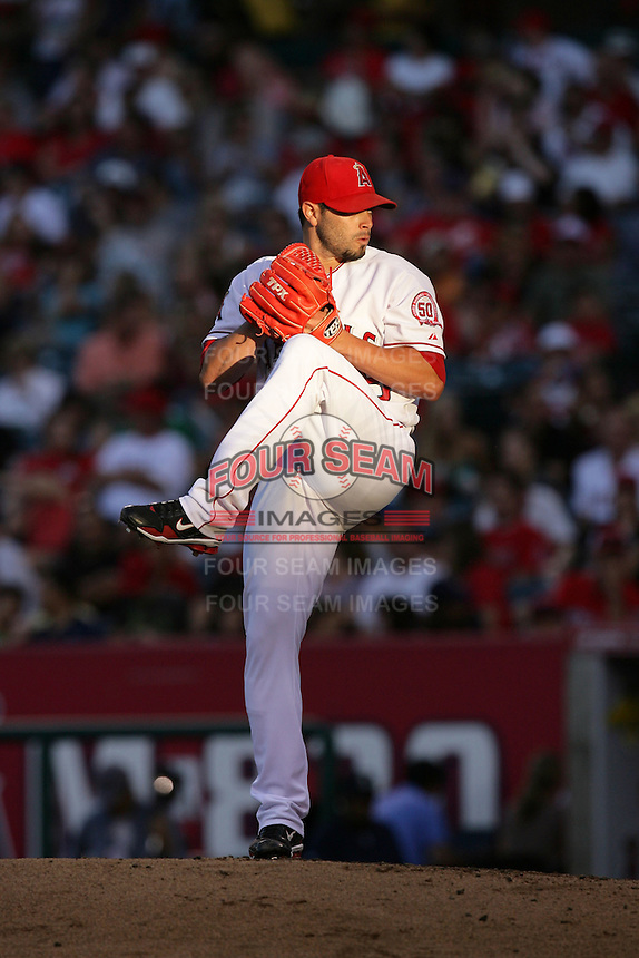 Los Angeles Angels pitcher Joel Pineiro #35 pitches against the Seattle Mariners at Angel Stadium on July 9, 2011 in Anaheim,California. (Larry Goren/Four Seam Images)