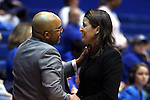 08 January 2015: Syracuse head coach Quentin Hillsman (left) and Duke head coach Joanne P. McCallie (right) shake hands before the game. The Duke University Blue Devils hosted the Syracuse University Orange at Cameron Indoor Stadium in Durham, North Carolina in a 2014-15 NCAA Division I Women's Basketball game. Duke won the game 74-72.
