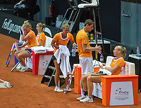 13 April, 2016, France, Trélazé, Arena Loire,   Semifinal FedCup, France-Netherlands, Dutch team practise, doubles, ltr: Richel Hogenkamp, Arantxa Rus, Cindy Burger, captain Paul Haarhuis and Kiki Bertens<br />