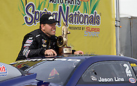 Apr. 28, 2013; Baytown, TX, USA: NHRA pro stock driver Jason Line after winning the Spring Nationals at Royal Purple Raceway. Mandatory Credit: Mark J. Rebilas-