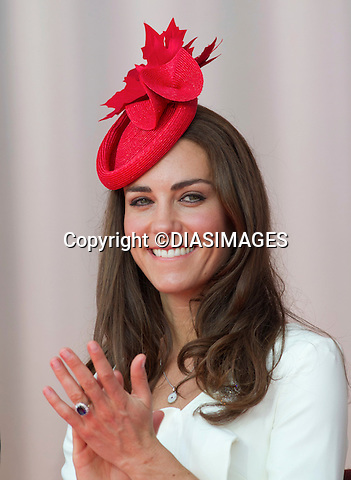 """CATHERINE, DUCHESS OF CAMBRIDGE.WILLIAM & KATE ATTEND CANADA DAY CELEBRATIONS.Parliament Hill, Ottawa_01/07/2011.Mandatory Credit Photo: ©DIAS-DIASIMAGES..**ALL FEES PAYABLE TO: """"NEWSPIX INTERNATIONAL""""**..No UK Sales until 29/07/2011.IMMEDIATE CONFIRMATION OF USAGE REQUIRED:.DiasImages, 31a Chinnery Hill, Bishop's Stortford, ENGLAND CM23 3PS.Tel:+441279 324672  ; Fax: +441279656877.Mobile:  07775681153.e-mail: info@newspixinternational.co.uk"""