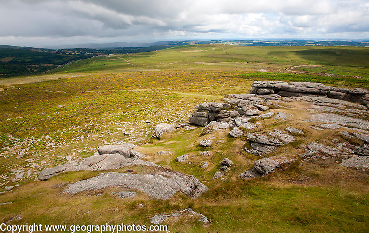 Upland  granite landscape near Haytor, Dartmoor national park, Devon, England, UK