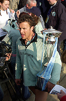London, GREAT BRITAIN,  Dan O'SHAUGHNESSY with the Boat Race Trophy, after Cambridge win the 2007 Boat race, on  Sat. April 7th. England [Photo Patrick White/Intersport Images] Varsity Boat Race, Rowing Course: River Thames, Championship course, Putney to Mortlake 4.25 Miles,