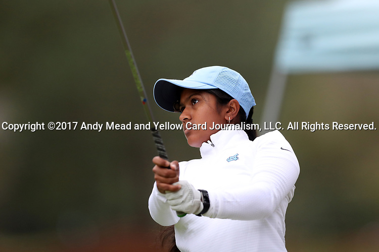 CHAPEL HILL, NC - OCTOBER 14: North Carolina's Roshnee Sharma on the tenth tee. The second round of the Ruth's Chris Tar Heel Invitational Women's Golf Tournament was held on October 14, 2017, at the UNC Finley Golf Course in Chapel Hill, NC.