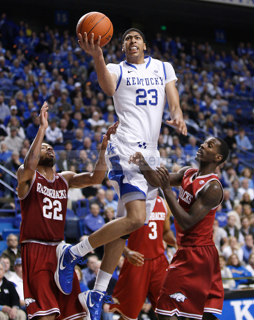 UK's Anthony Davis looks to put the ball up against Arkansas at Rupp Arena on Tuesday, Jan. 17, 2012. Photo by Scott Hannigan | Staff